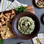 grilled zucchini baba ganoush with pita slices and crackers