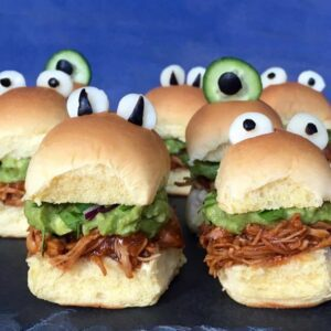 halloween monster chicken sliders close up