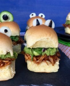 halloween monster chicken sliders with blue background