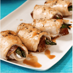 easy chicken and asparagus roll ups with prosciutto