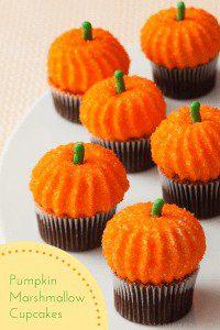 pumpkin marshmallows on cupcakes pin