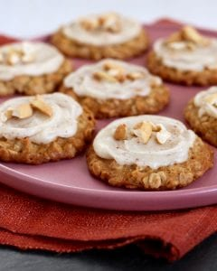 Cashew Cookies with Brown Butter Frosting on pink