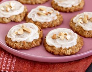 Cashew Cookies with Brown Butter Frosting on a plate