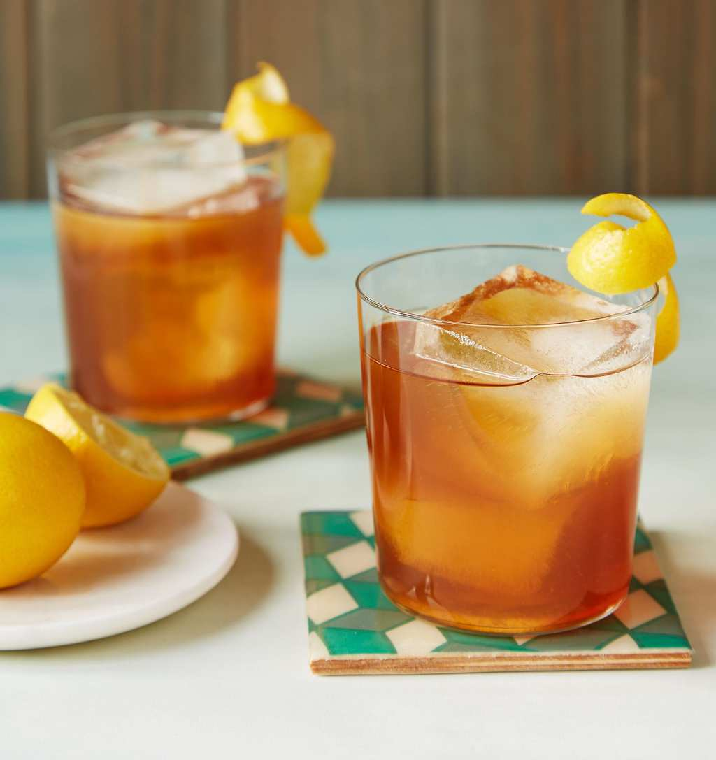 A lemon curl on an Earl Grey Cocktail