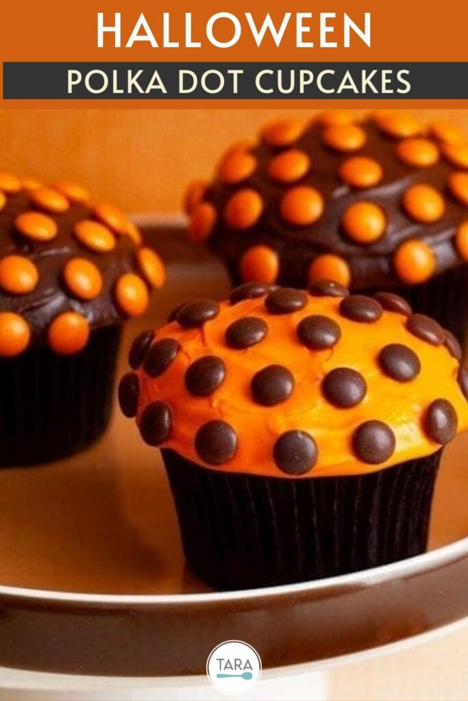 polka dot halloween cupcakes pin