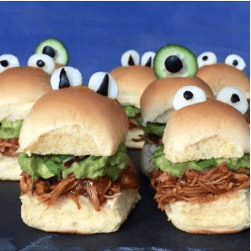 halloween monster chicken sliders