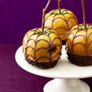 halloween spiderweb caramel apples