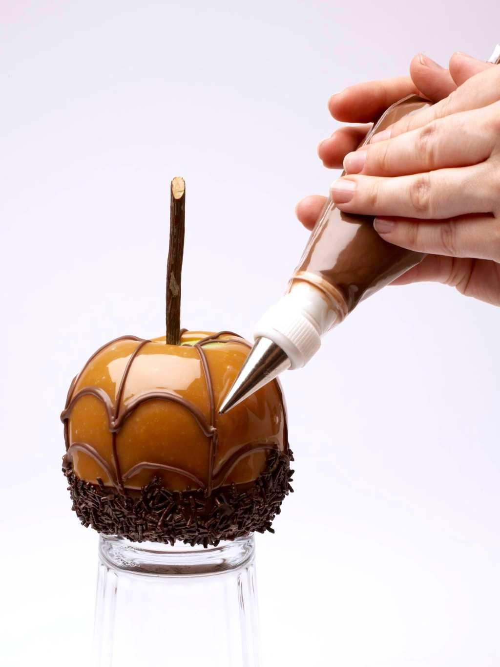 spiderweb caramel apples chocolate spiderweb