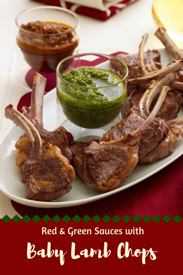 Baby Lamb Chops appetizers with Red and Green Sauces
