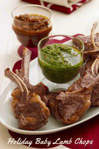 Baby lamb chops appetizer with red and green sauces
