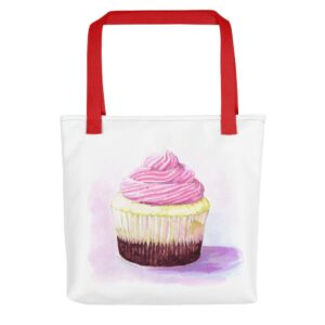 Shop Tara Teaspoon for this cupcake bag with red handle