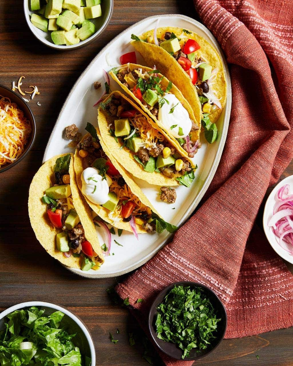Chili Beef Tacos with Sour Cream