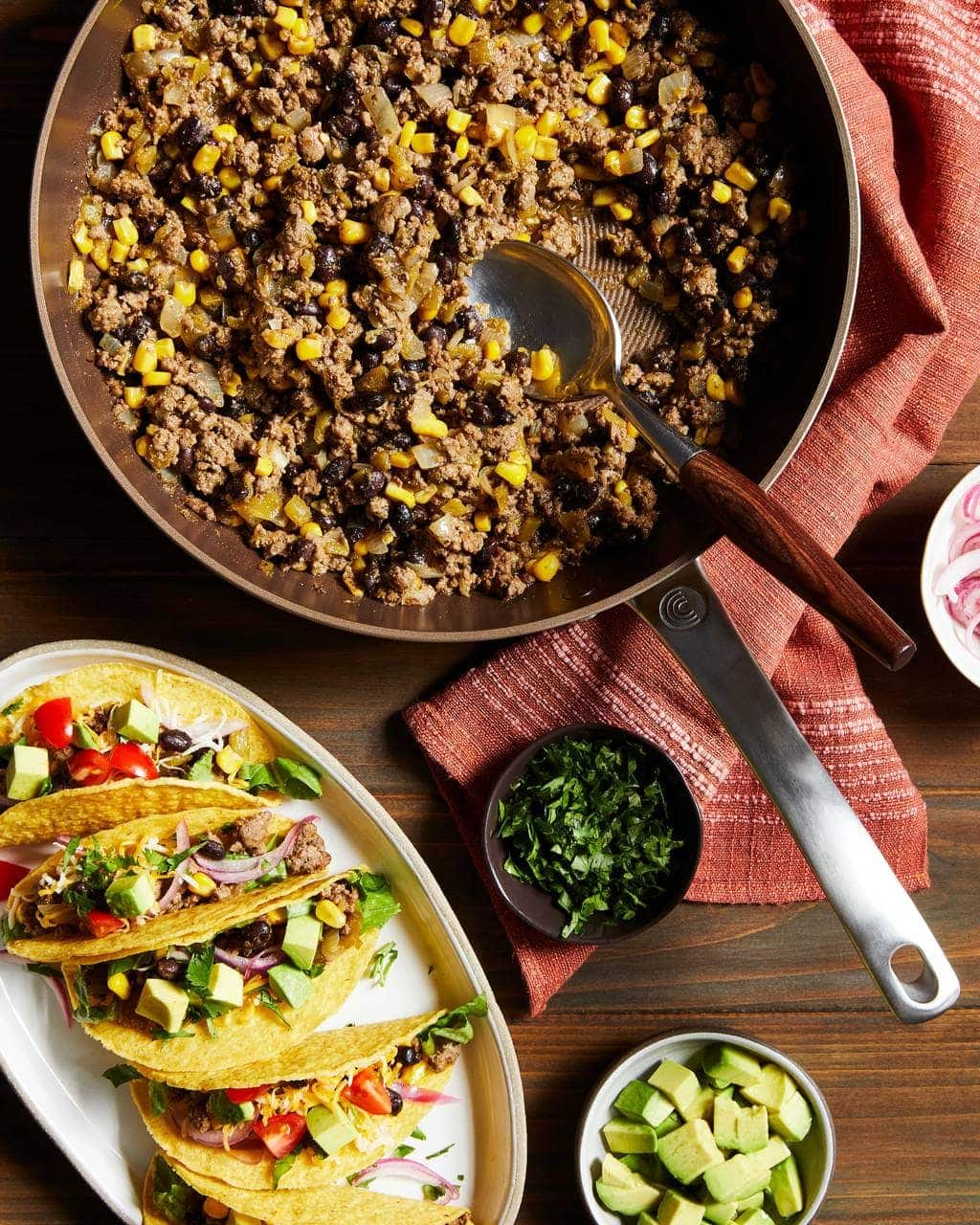 Chili Beef Tacos in a Circulon Skillet