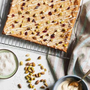 Pistachio Bars cooling on a rack