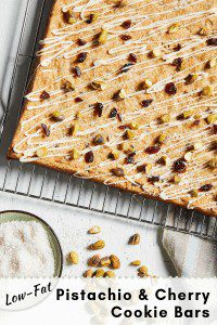 Pistachio and Cherry Cookie Bars on cooling rack