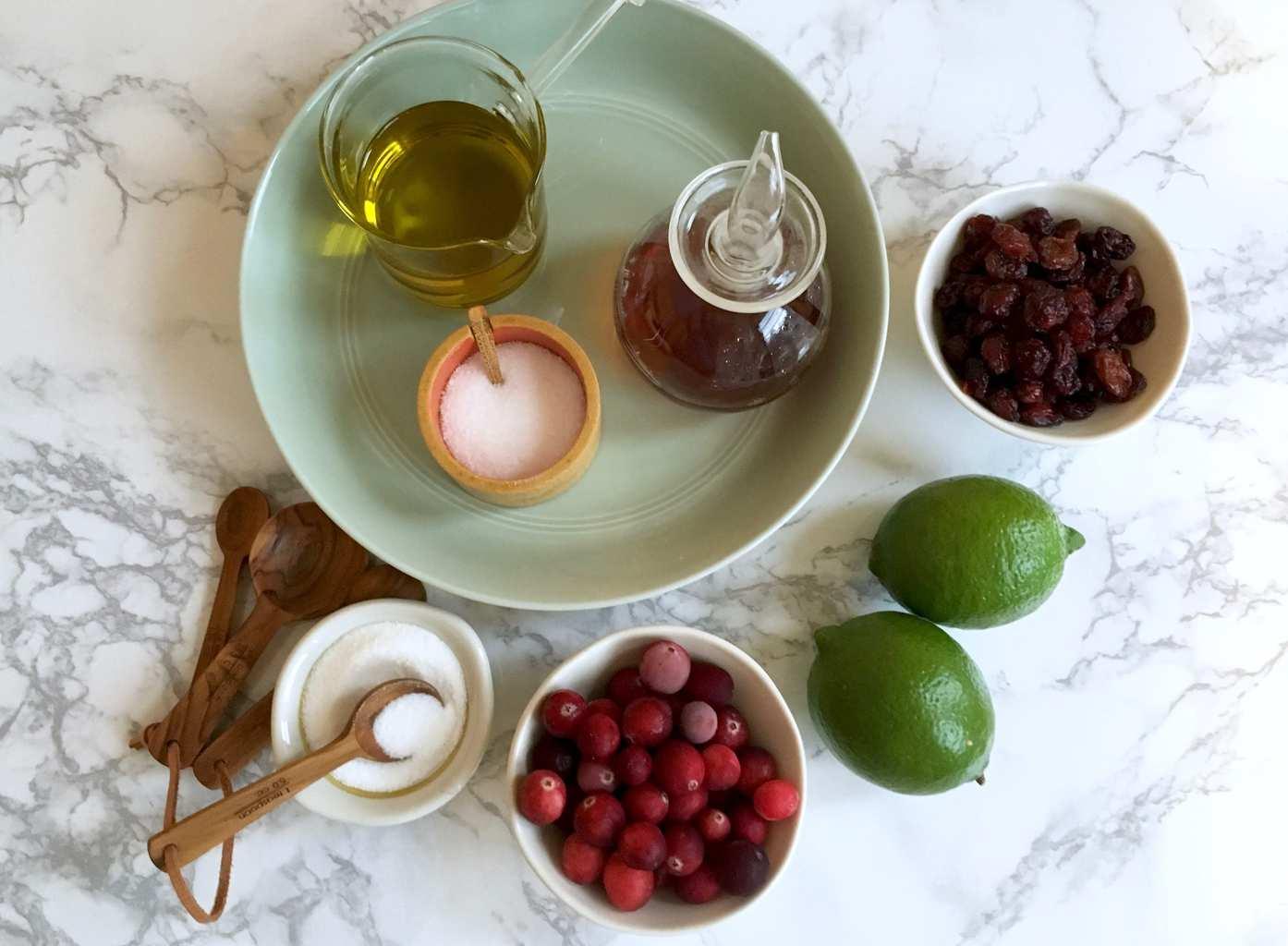 ingredients for cranberry vinaigrette