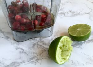 blending cranberry vinaigrette