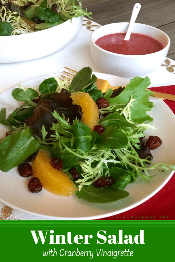 winter salad with cranberry vinaigrette pin image