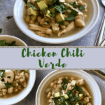 Have a bowl of Chicken Chili Verde with avocado and cilantro