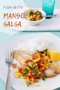 mango salsa for fish on a plate