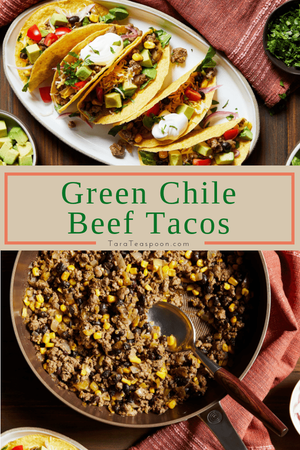 Green Chile Beef Tacos in a skillet