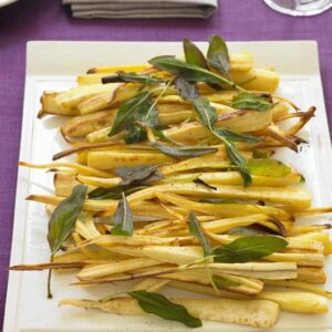Roast Parsnips on a platter