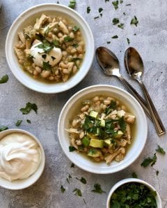 Two bowls of Chicken Chili Verde soup