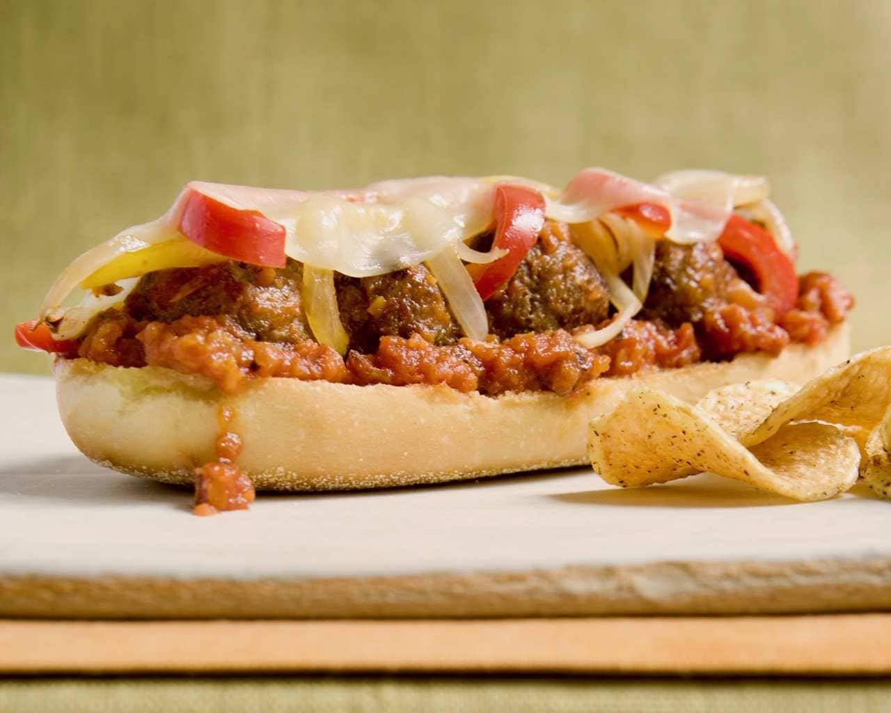 Meatball sub with chips close crop