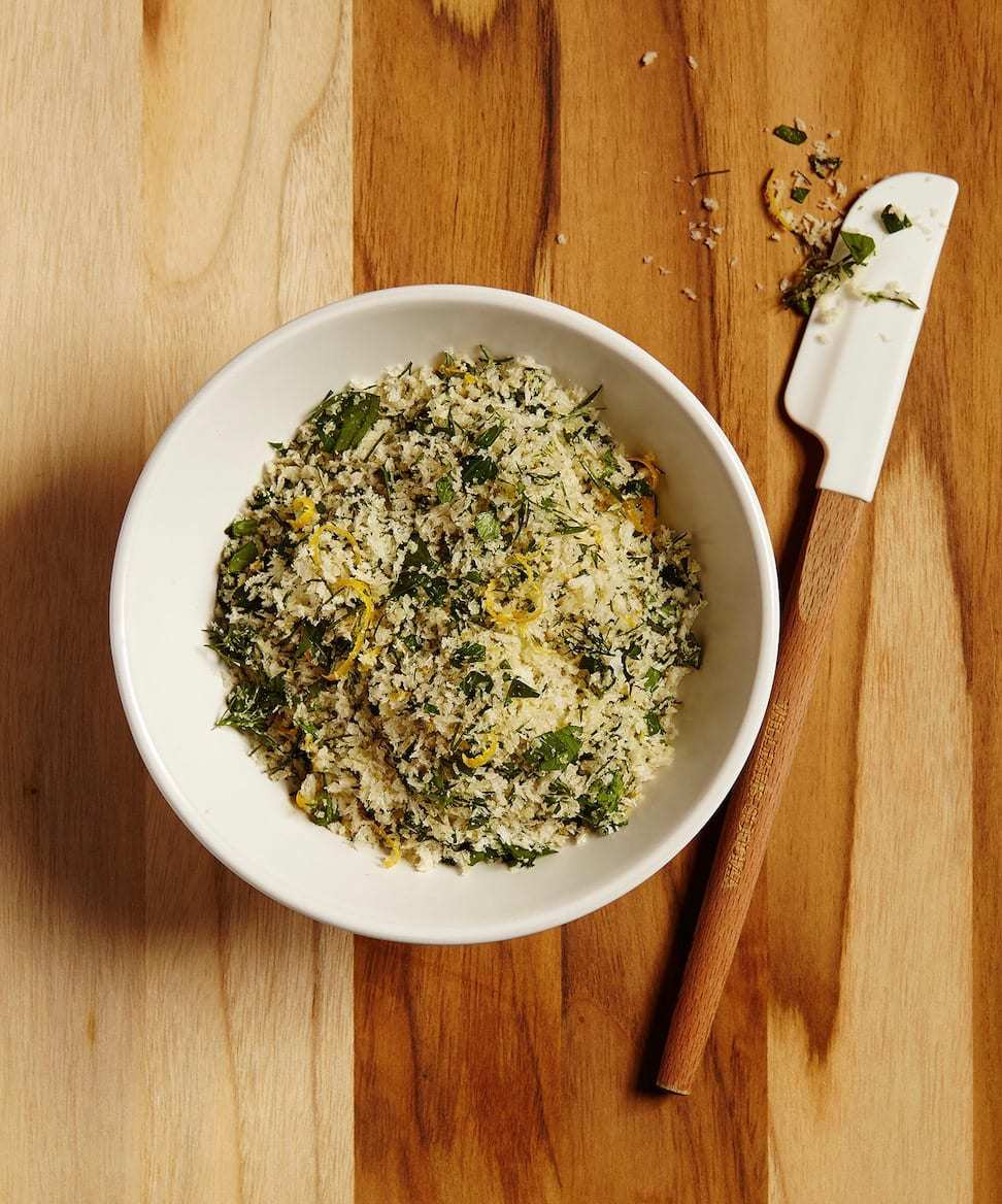 herb bread crumbs in a bowl