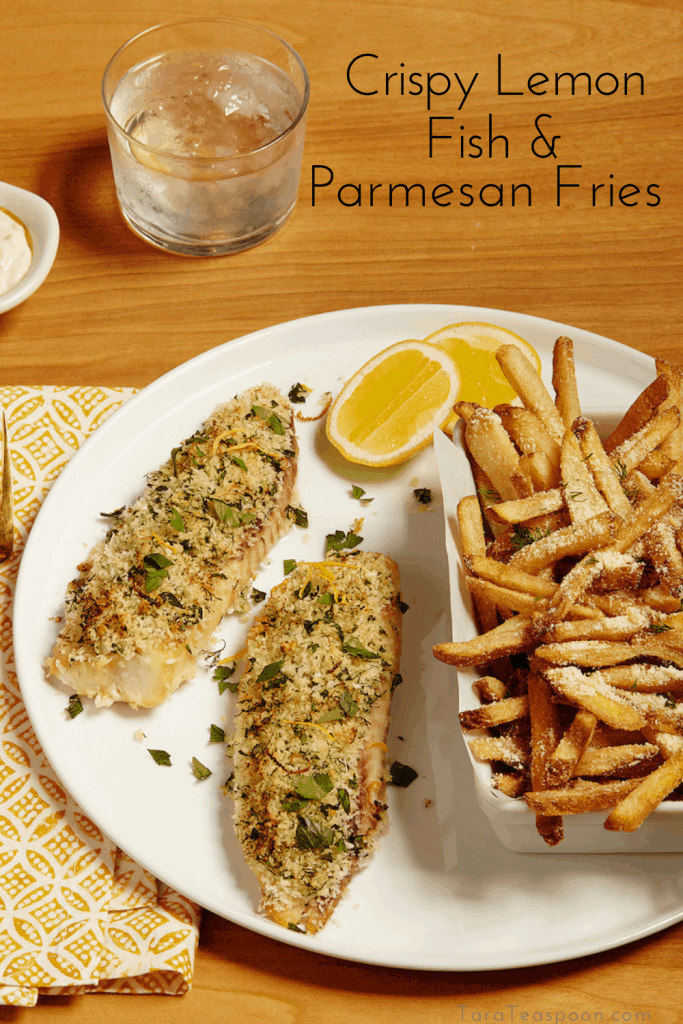 lemon fish with fries pin