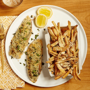 lemon baked fish with fries