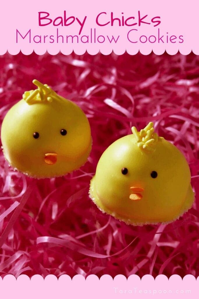 Baby chicks cookies on pink grass pin