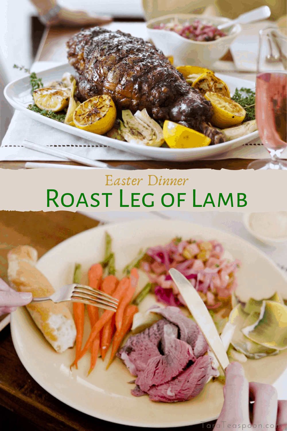 Roast leg of lamb and easter dinner plate pin