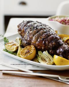 close up of leg of lamb for easter dinner