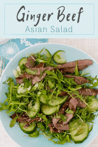 Ginger Beef Salad with Asian Dressing pin