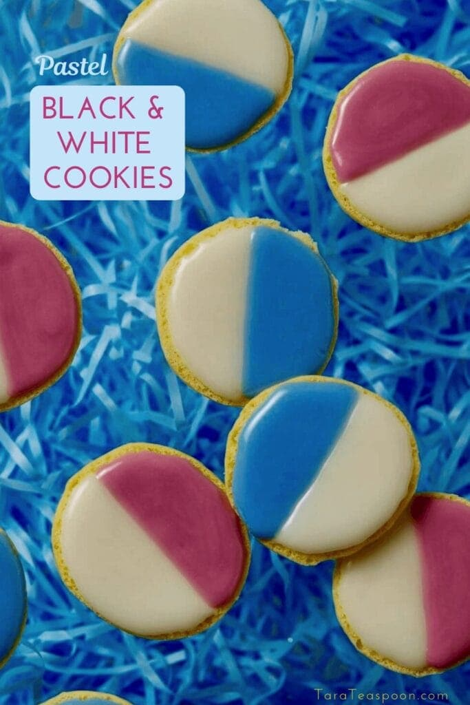 black and white cookies with pastel colors pin