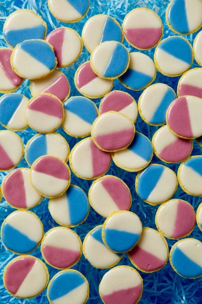pink and blue black and white cookies for easter