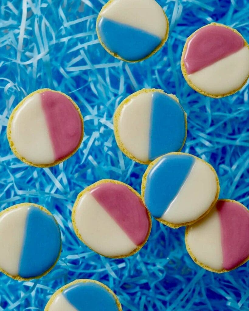 pink and blue black and white cookies
