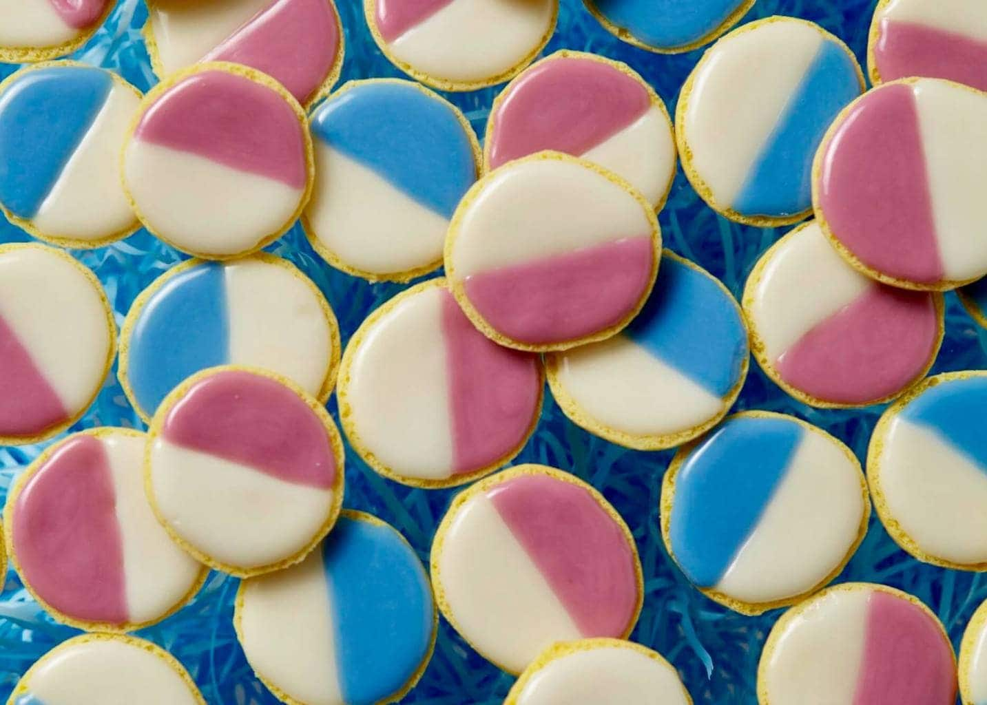 pastel black and white cookies with blue and pink