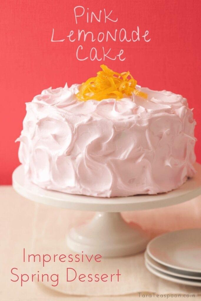 Pink Lemonade Cake with Candies Lemon Zest