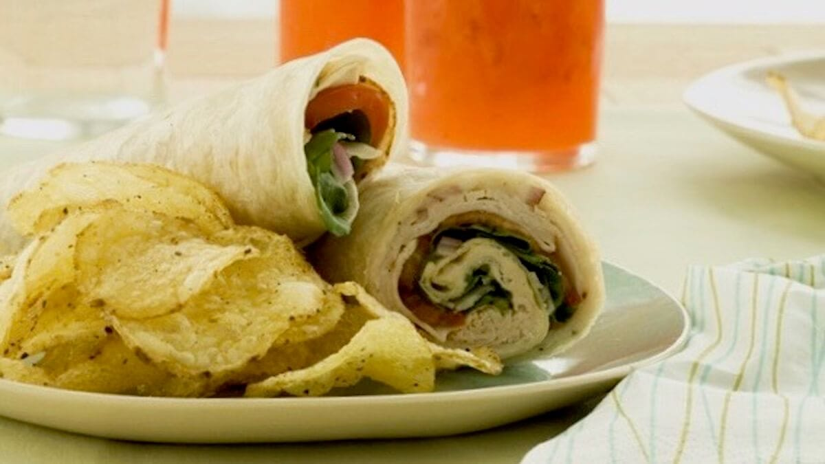 Turkey Wraps on plate with chips and lemonade