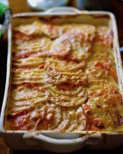 golden carrot and potato gratin