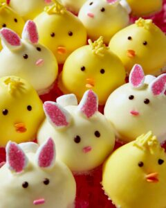 chick and bunny cookies on pink grass