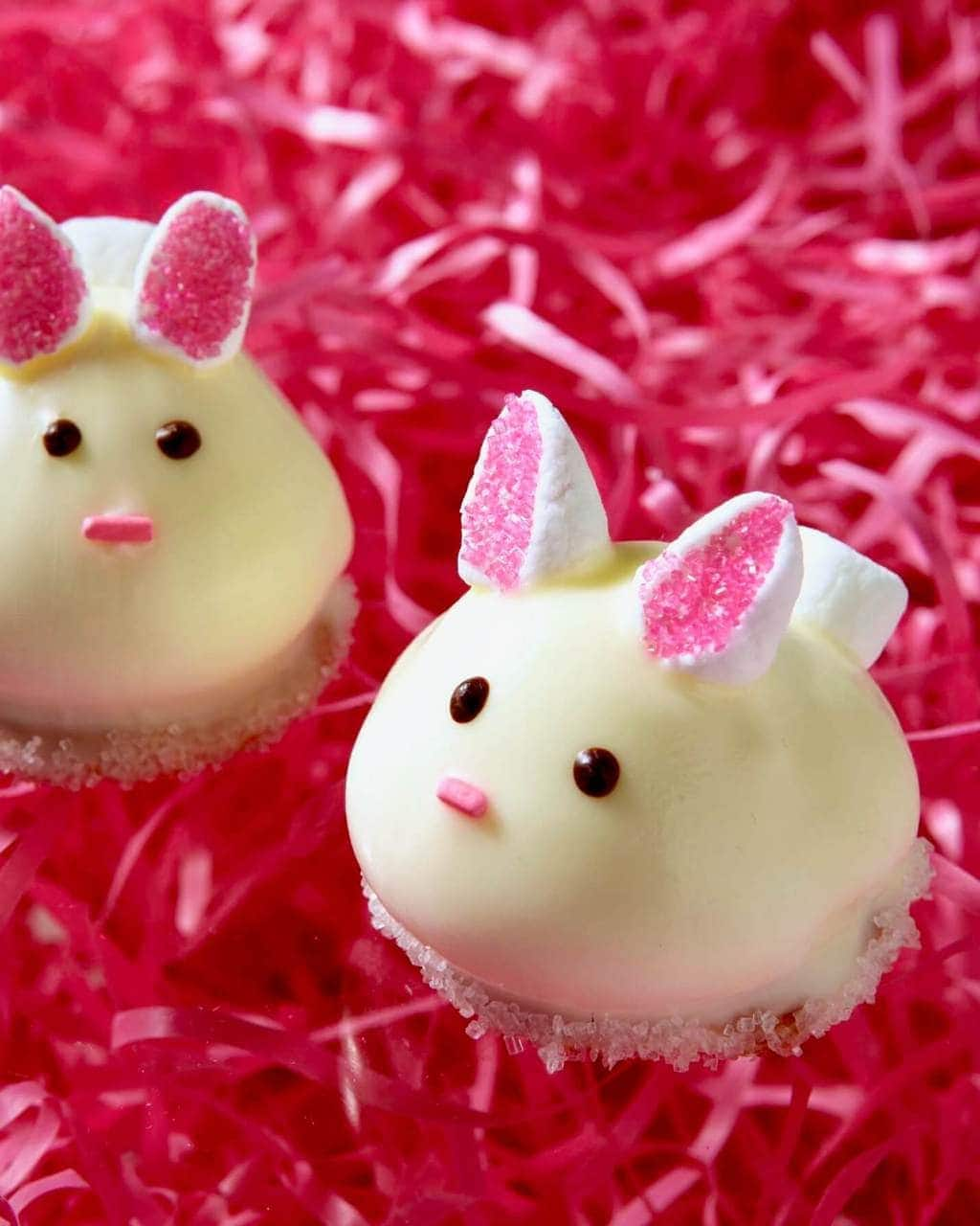 bunny cookies with marshmallow ears on pink Eater grass