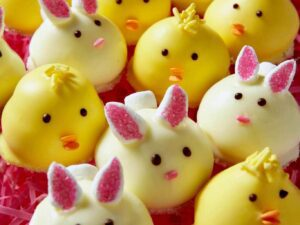 chick and bunny cookies with candy decorations