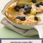 German Pancake in white skillet