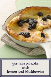 German Pancake in white skillet