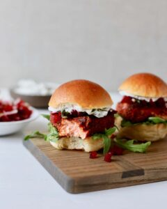 Salmon sliders with arugula bite out