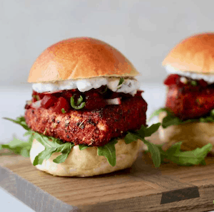 Blackened salmon sliders on cutting board