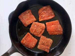 salmon in a cast iron skillet